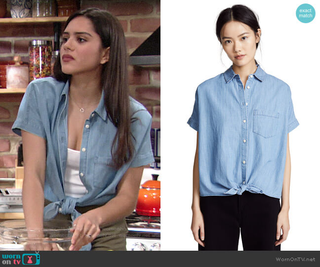 Madewell Denim Short-Sleeve Tie-Front Shirt worn by Lola Rosales (Sasha Calle) on The Young & the Restless