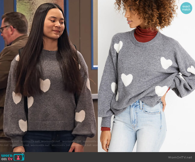 Heart Dot Balloon-Sleeve Pullover Sweater by Madewell worn by Xuan (Tiana Le) on No Good Nick