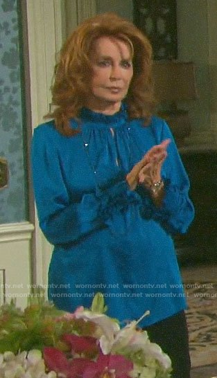 Maggie's blue keyhole blouse on Days of our Lives