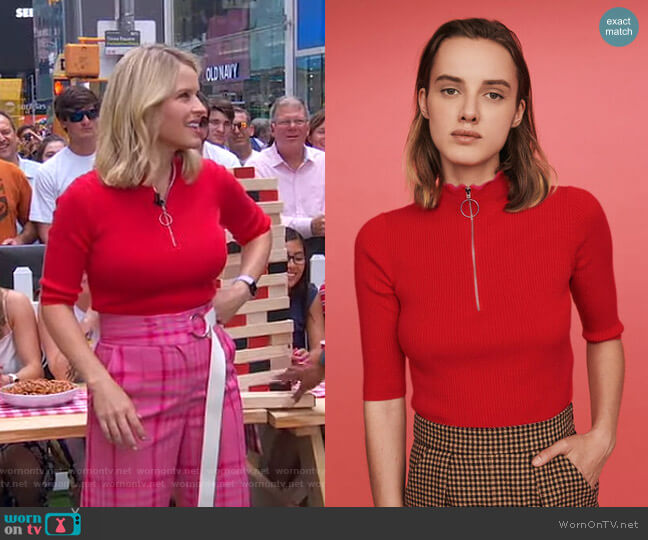 Fancy and Zipped Light Polo Sweater by Maje worn by Sara Haines  on Good Morning America