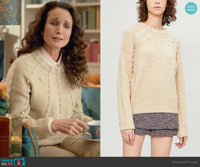 Maje Faux Pearl-Embellished Knitted Jumper worn by Mrs Howard (Andie MacDowell) on Four Weddings and a Funeral