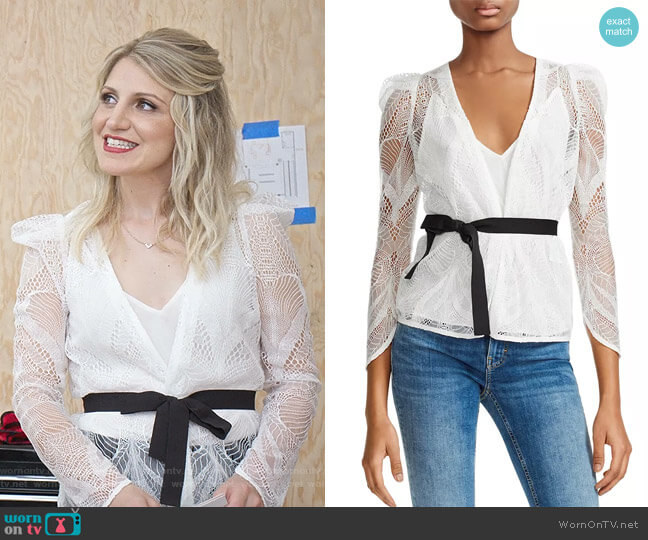 Lizoni Belted Lace Blouse by Maje worn by Annaleigh Ashford on Younger