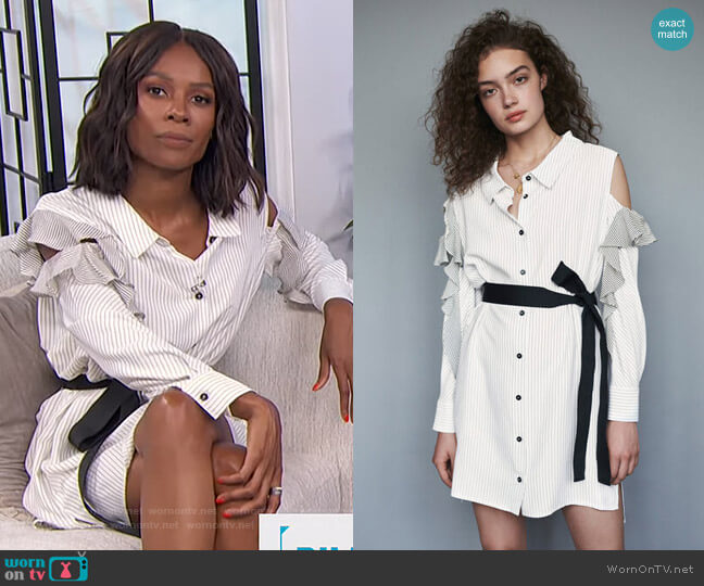 Striped Ruffled Shirt Dress by Maje worn by Zuri Hall  on E! News
