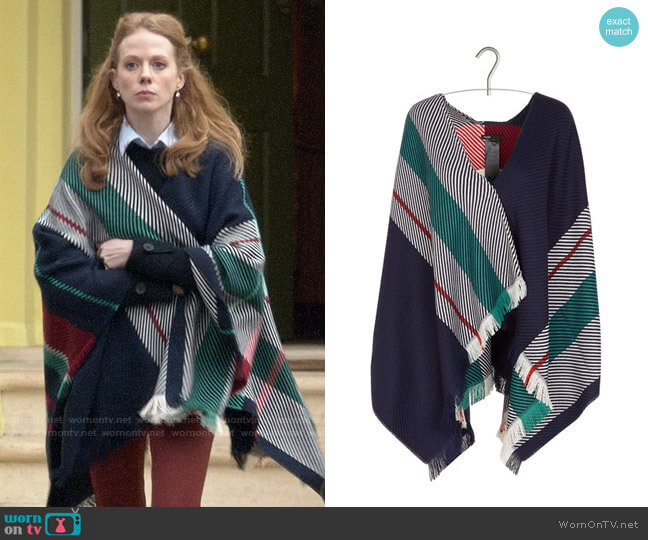Maje Emmy jacquard stripe wool-blend poncho worn by Gemma (Zoe Boyle) on Four Weddings & a Funeral