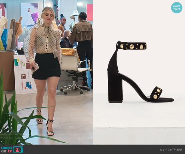 Suede Heeled Sandals by Maje worn by Annaleigh Ashford on Younger