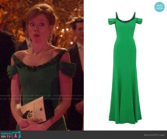 Marchesa Notte Cold-shoulder Embellished Cady Gown worn by Gemma (Zoe Boyle) on Four Weddings & a Funeral