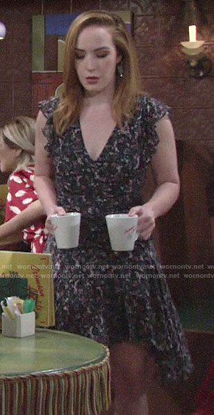 Mariahs' floral ruffle sleeve dress on The Young and the Restless