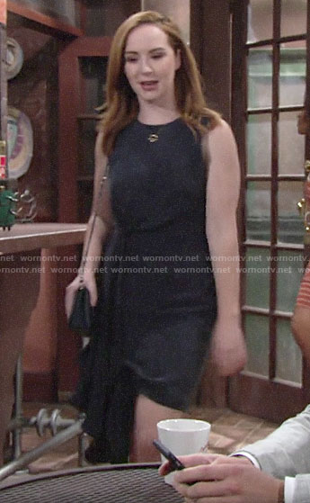 Mariah's navy side drape dress on The Young and the Restless