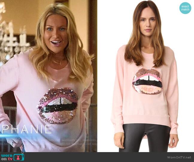 Markus Lupfer Tonal Sequin Lara Lip Joey Sweater worn by Stephanie Pratt  on The Hills New Beginnings