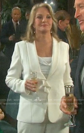 Marlena's white ruffled blazer on Days of our Lives