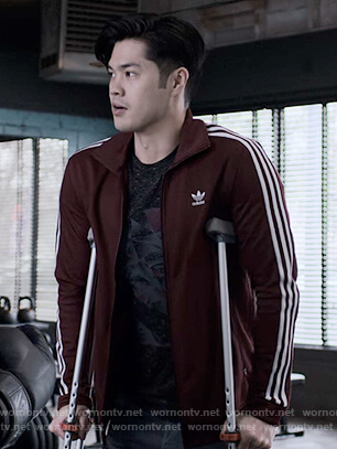 Zach's maroon Adidas track jacket on 13 Reasons Why