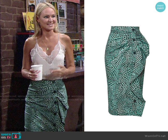 Max Mara Musette stretch cotton skirt worn by Sharon Collins (Sharon Case) on The Young & the Restless