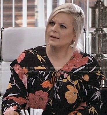 Maxie's black floral blouse on General Hospital