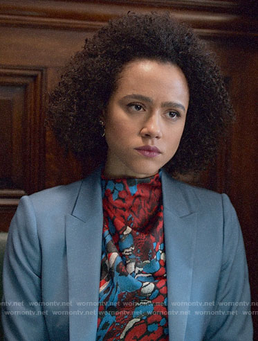 Maya's abstract print blouse and blue suit on Four Weddings and a Funeral