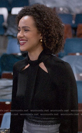 Maya's black cutout blouse on Four Weddings and a Funeral