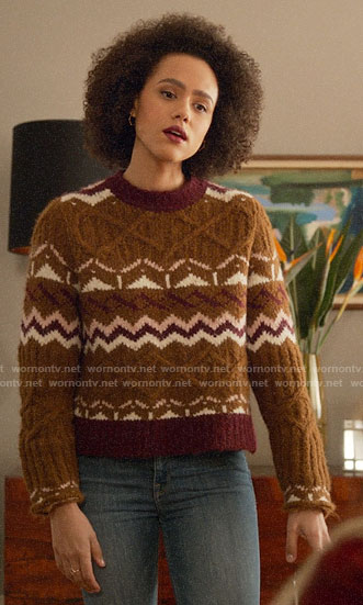 Maya's brown printed sweater on Four Weddings and a Funeral