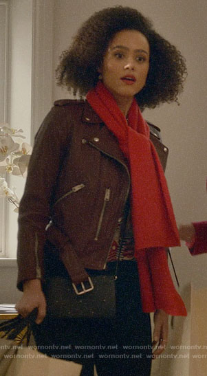 Maya's burgundy leather jacket on Four Weddings and a Funeral