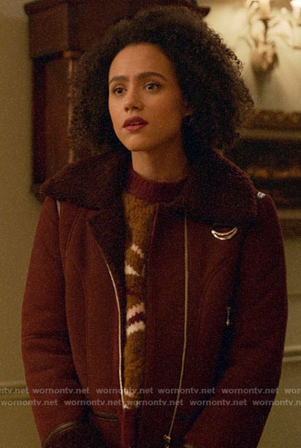 Maya's burgundy shearling aviator jacket on Four Weddings and a Funeral