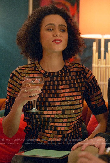 Maya's geometric patterned top on Four Weddings and a Funeral