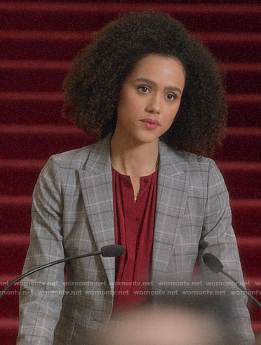 Maya's grey plaid blazer on Four Weddings and a Funeral