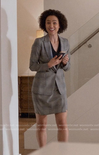 Maya's grey plaid blazer and skirt on Four Weddings and a Funeral