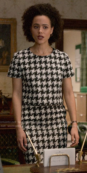 Maya's houndstooth top and skirt set on Four Weddings and a Funeral