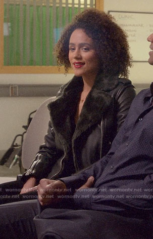Maya's leather jacket with fur on Four Weddings and a Funeral