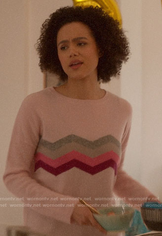 Maya's pink chevron sweater on Four Weddings and a Funeral