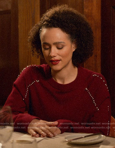 Maya's red ring detail sweater on Four Weddings and a Funeral