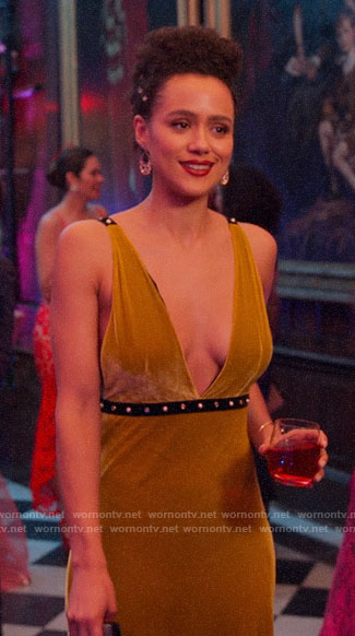 Maya's yellow velvet gown with studded detail on Four Weddings and a Funeral