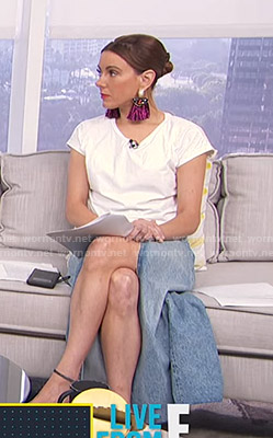 Melanie's denim skirt with slit on Live from E!