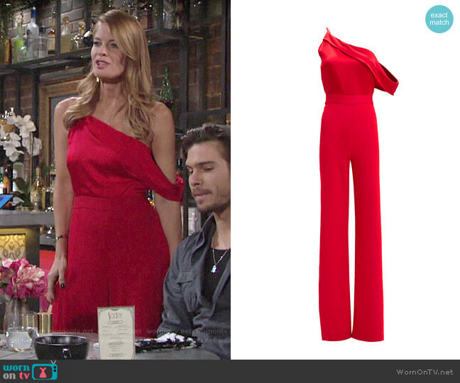 Michelle Mason One Shoulder High Slit Jumpsuit worn by Phyllis Summers (Michelle Stafford) on The Young & the Restless