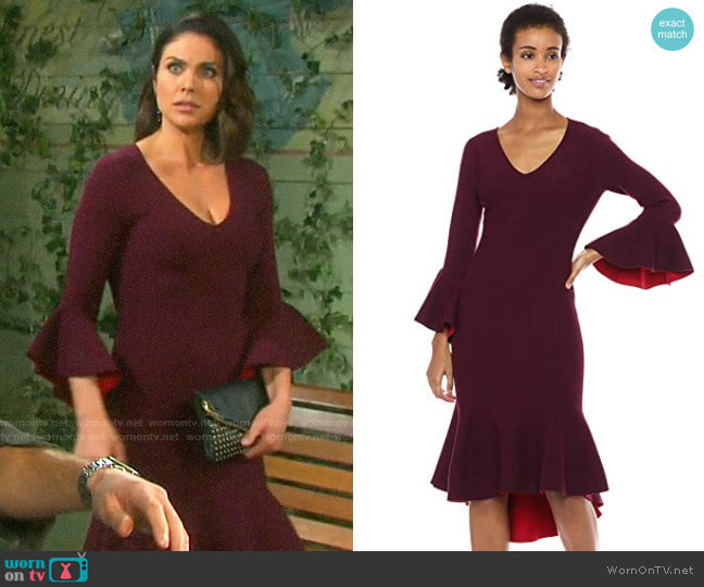 Milly Contrast Knit Draped Mermaid Dress worn by Chloe Lane (Nadia Bjorlin) on Days of our Lives