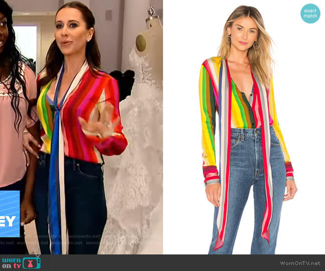 Nia Bow Top by Milly worn by Jessica Mulroney on GMA