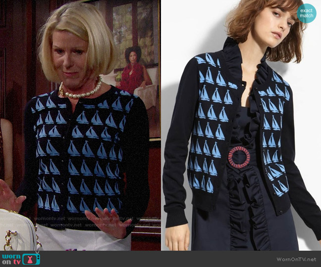 Milly Sailboat Jacquard Cardigan worn by Pamela Douglas (Alley Mills) on The Bold & the Beautiful