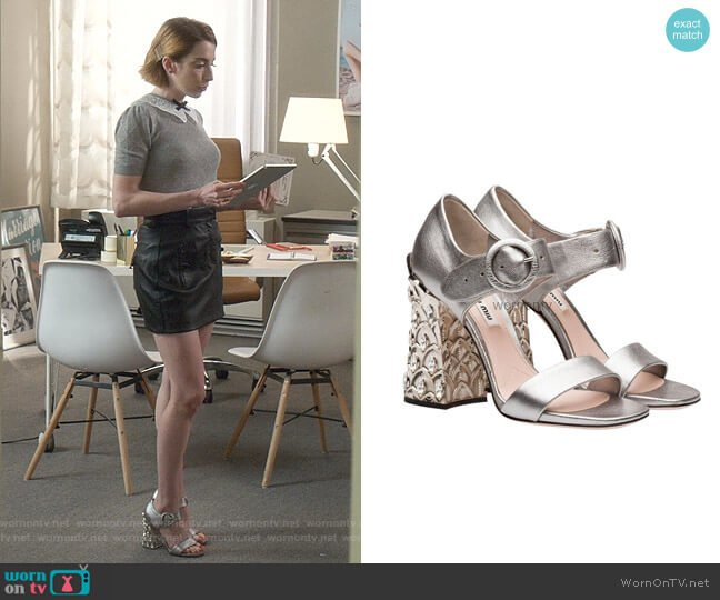 Sandals by Miu Miu worn by Lauren (Molly Bernard) on Younger