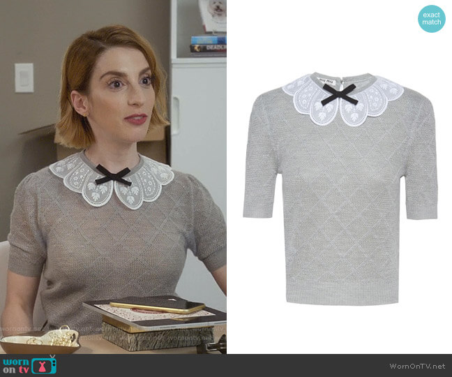 Scalloped Collar Knitted Top by Miu Miu worn by Lauren (Molly Bernard) on Younger