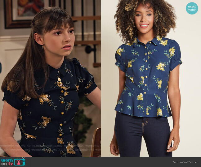 Regularly Scheduled Sass Button-Up Top in Floral by Collectif at Modcloth worn by Molly (Lauren Lindsey Donzis) on No Good Nick