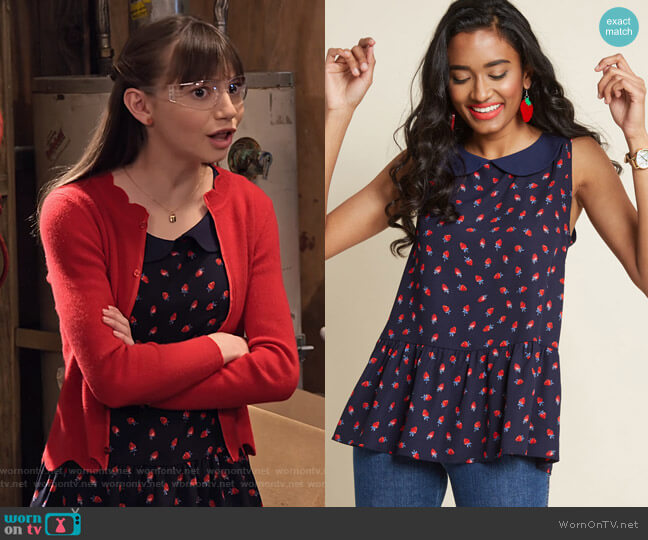 Exceptional Impression Peplum Top in Strawberries by Modcloth worn by Molly (Lauren Lindsey Donzis) on No Good Nick
