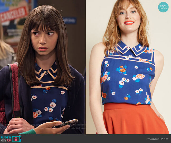 Up to Innovate Collared Top in Navy Floral by Modcloth worn by Molly (Lauren Lindsey Donzis) on No Good Nick
