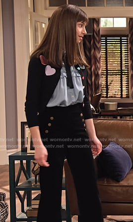 Molly's black heart cardigan and button front pants on No Good Nick