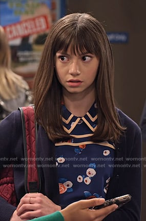 Molly's blue floral collared top on No Good Nick
