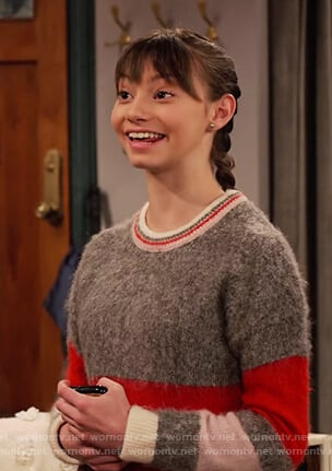 Molly's gray striped sweater on No Good Nick