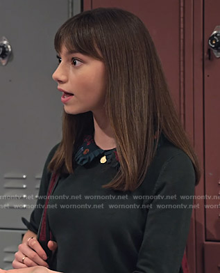 Molly's green sweater with floral collar on No Good Nick