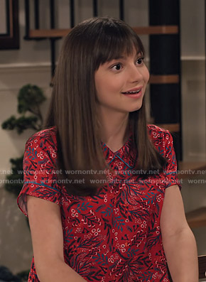 Molly's red floral short sleeve top on No Good Nick