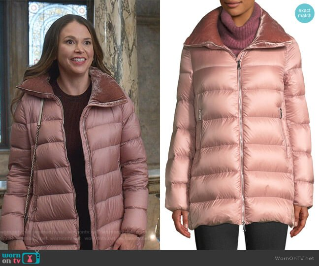 Torcol Puffer Coat with Velvet Collar by Moncler worn by Liza Miller (Sutton Foster) on Younger