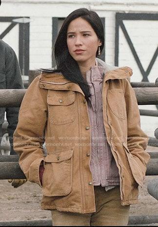 Monica's tan jacket on Yellowstone