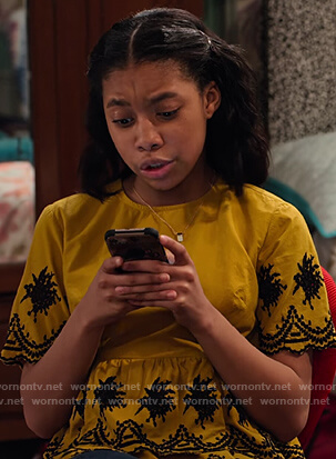 Becky's mustard floral embroidered top on No Good Nick