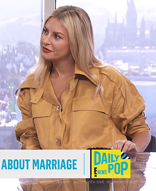 Morgan's mustard utility jacket on E! News Daily Pop