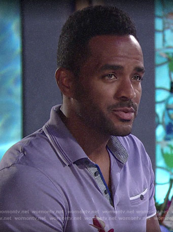 Nate's purple polo shirt on The Young and the Restless